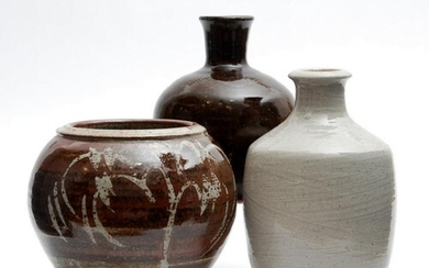 Three pieces of 20th Century studio pottery comprising a bot...
