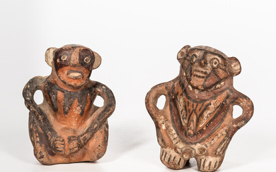 Two Pre-Columbian Polychrome Pottery Figures