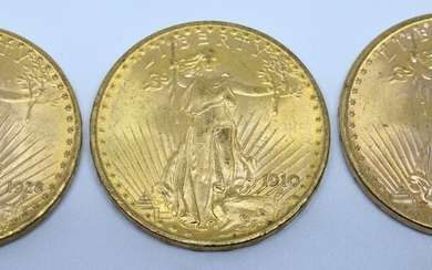 USA.Trois pièces 20 dollars or. 1910, 1922...