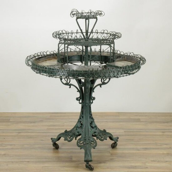 Victorian Cast Iron & Wire Plant Stand, Late 19th