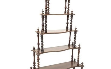 Victorian mahogany serpentine front waterfall whatnot, six tiers each...