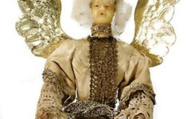 angel, wax head, wrapped wire body, wood arms and