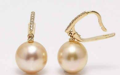 14 kt. Yellow Gold- 11x12mm Golden South Sea Pearls