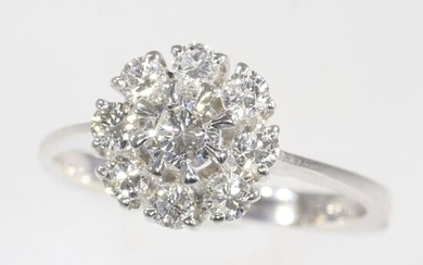 18 kt. White gold - Ring - 0.85 ct Diamonds - Natural (untreated), Free resizing*
