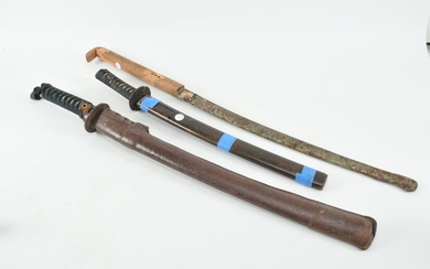 3 Japanese swords. 1) Sword with thick leather