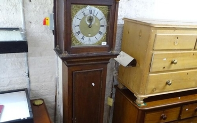 """A 19th century longcase clock, with an 11"""" square brass dial..."""