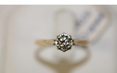 A 9ct gold ellusion cut diamond solitaire ring size P