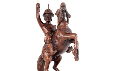 A CHINESE CARVED HARDWOOD FIGURE OF A GENERAL ON HORSE BACK ...