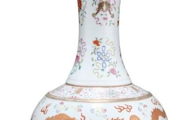 A CHINESE FAMILLE ROSE 'DRAGON' BOTTLE VASE, the