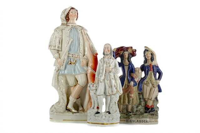 A COLLECTION OF THREE MID-19TH CENTURY STAFFORDSHIRE FLATBACK FIGURES