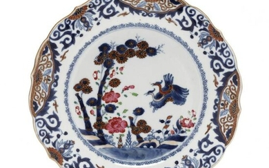 A Chinese Export Porcelain Bamboo and Flora Plate