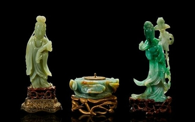 A group of two Chinese carved meiren and an inkwell