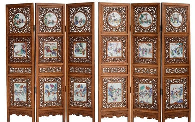 A Chinese openworked six-panel screen, the famille rose...