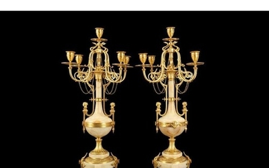 A FINE PAIR OF LATE 19TH CENTURY FRENCH GILT BRONZE AND ALGE...