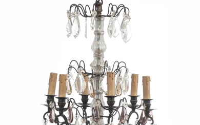 NOT SOLD. A French chandelier with cage-shaped frame, mounted for electricity. 20th century H. 65...