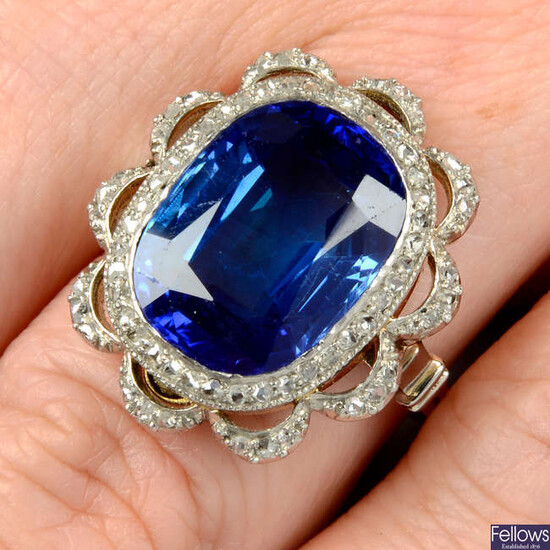 A Kashmir sapphire and rose-cut diamond cluster ring.