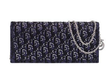 A NAVY BLUE SATIN AND CRYSTAL LADY DIOR CLUTCH