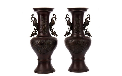 A PAIR OF 20TH CENTURY CHINESE BRONZE VASES