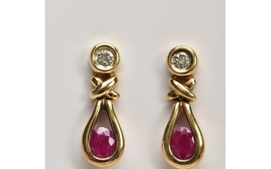 A PAIR OF 9CT GOLD RUBY AND DIAMOND EARRINGS, each drop set ...