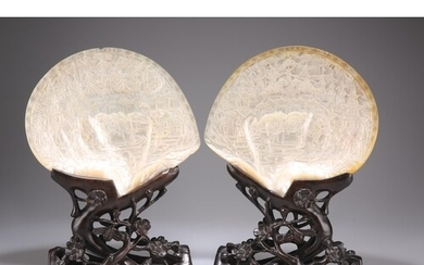 A PAIR OF CHINESE CARVED MOTHER-OF-PEARL SHELLS, MID-19TH CE...