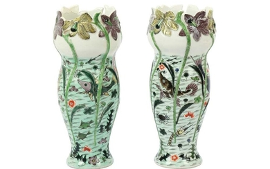 A PAIR OF CHINESE FAMILLE VERTE 'FISH POND' VASES, 18TH/19TH CENTURY