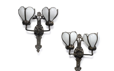A Pair of Bronzed Metal and Milk Glass Art Nouveau Two-Light Wall Sconces, Early 20th Century