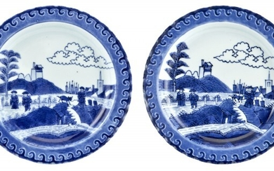"""A Rare Pair of Chinese Blue and White Porcelain """"Deshima Island"""" Plates"""