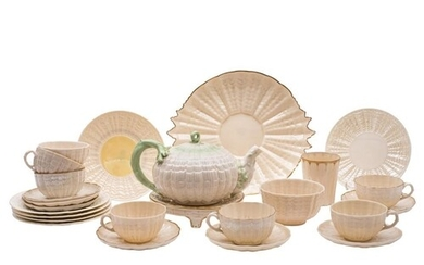 A collection of Belleek lustre porcelain tea wares: in the T...