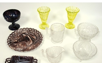 A group of 19th C pressed glass, a pair of Uranium glass tru...