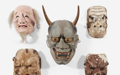 A group of five Japanese theater masks Edo period...