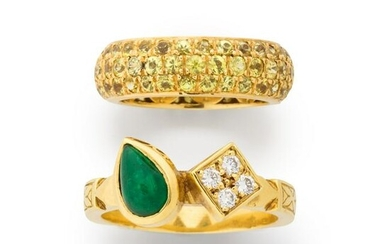 A group of gemstone and eighteen karat gold rings