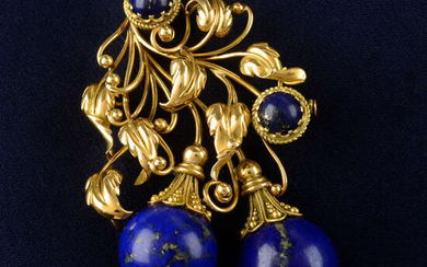 A mid 20th century 18ct gold and lapis lazuli floral brooch.