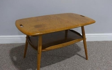 A mid 20thC Ercol beach and elm Tray Table, Model 457, the r...
