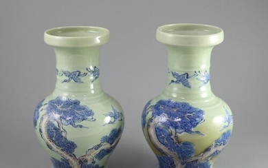 A pair of Chinese underglaze blue and copper red celadon gro...