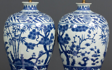 A pair of contemporary chinese style blue and white porcelain...