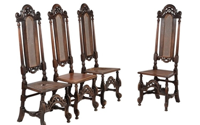 A set of four walnut and beech highback side chairs in William & Mary style