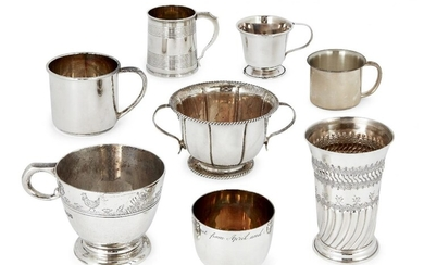 A silver christening cup with engraved chick and duck scenes to rim, Sheffield, c.1968, Elkington & Co., together with a small George IV silver tankard with reeded body, London, c.1827, maker's mark rubbed; a repousse silver cup without handles...