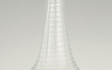 AN 18TH CENTURY CLEAR GLASS DECANTER with entwined