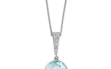 AN AQUAMARINE AND DIAMOND PENDANT AND CHAIN set with an