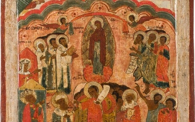 AN ICON SHOWING THE POKROV Russian, 17th century Tempera on...