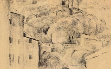"""Adolphe BEAUFRERE (1876-1960) """"Village of Provence"""" charcoal mbd 28x21"""