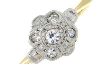 An early 20th century 18ct gold and platinum cubic zirconia and diamond cluster ring.
