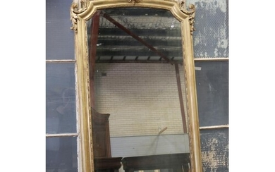 Antique French Louis XV style gilt frame mantle mirror, moul...