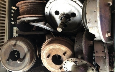 Assorted Velocette spares: Wheel hubs, brake plates and shoe...