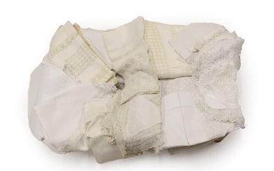 Assorted White Linen and Cotton Tablecloths, to include bed linen,...