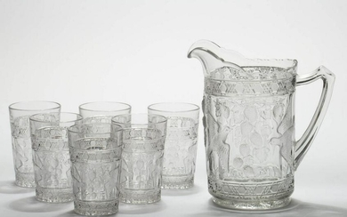 BIRD AND STRAWBERRY / INDIANA NO. 157 SEVEN-PIECE WATER