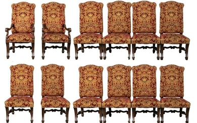 Baroque Revival Dining Chairs, Set of 12