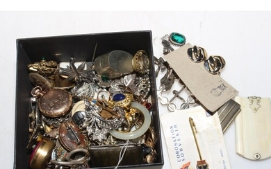 Box of collectables and jewellery including Waltham fob watc...