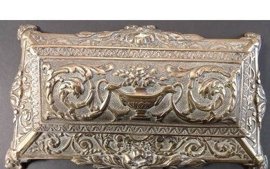 Brass. A large and heavy brass desk stamp box, lifting lid r...