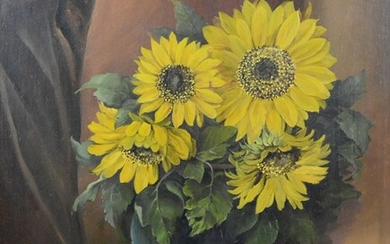 """Brichta, Fr. (20th century), """"Sunflowers"""", in a spherical vase, oil on panel, signed and dated 1948"""